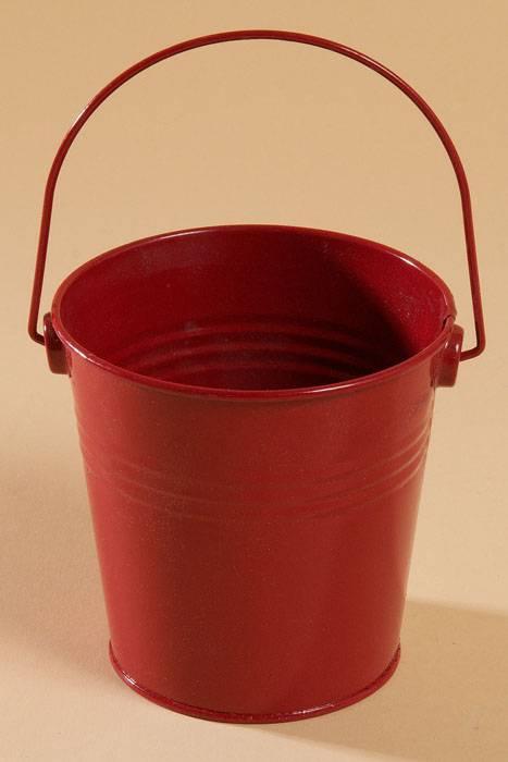 4 x 4 metal bucket w handle red for Metal bucket planter