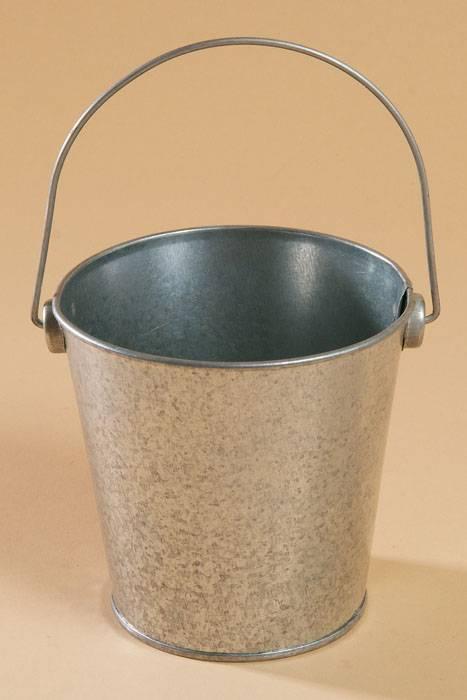 4 x 4 metal bucket w handle silver for Metal bucket planter
