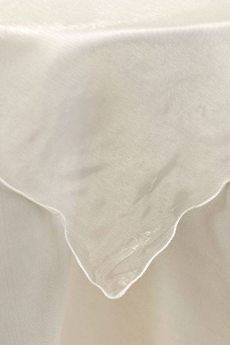80 Quot X 80 Quot Square Organza Table Cover W Ruffle Edge Ivory