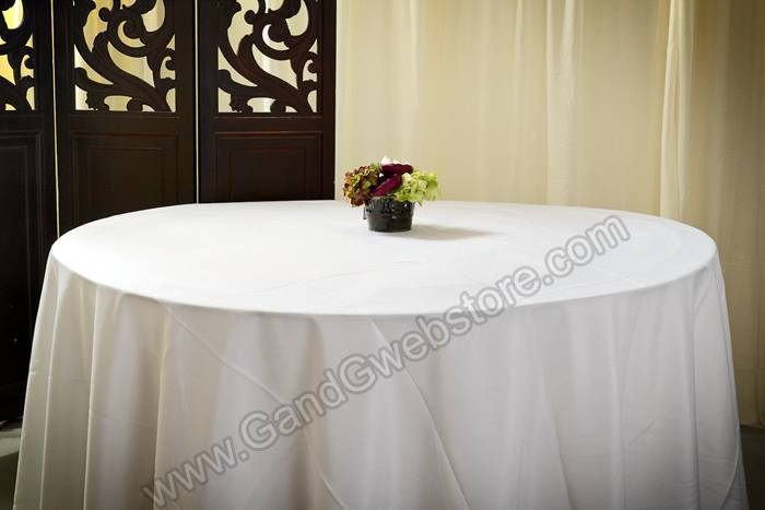 120 round polyester table cover white for 120 round table cover