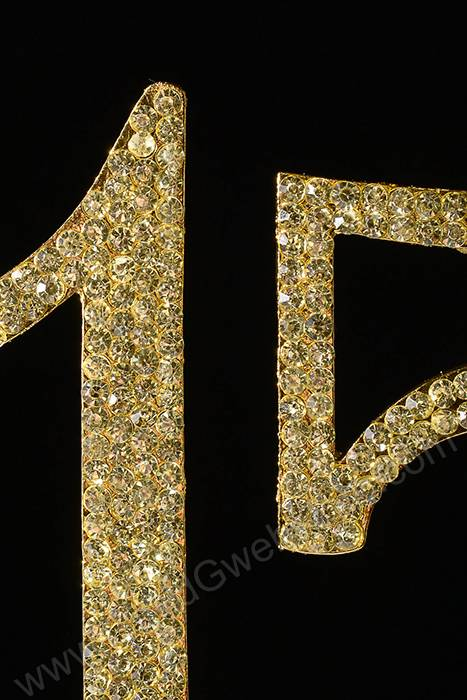 4 5 Quot Rhinestone Number Quot 15 Quot Cake Topper Gold