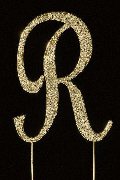 Gold Letter R Cake Topper