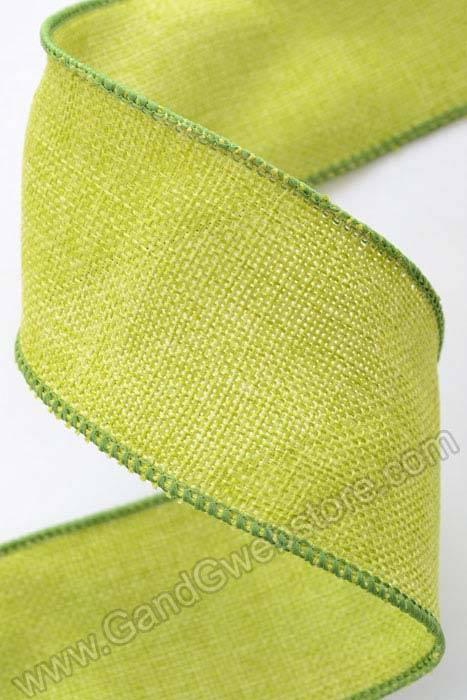 2 5 x 10yds burlap wired ribbon green for Green burlap ribbon