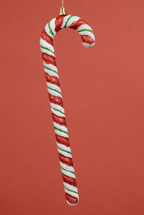 14 Quot Plastic Candy Cane W Glitter Red Green White