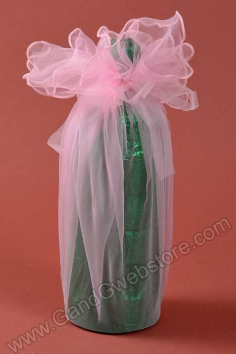 28 Quot Round Organza Wine Bottle Wrap Pink Pkg 6 Gandgwebstore Com
