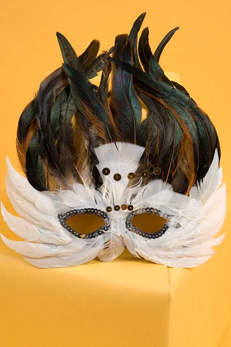 Feather Mask White Brown Gandgwebstore Com