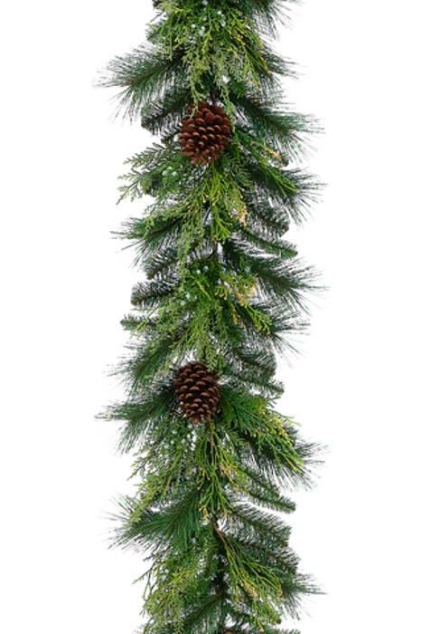 6ft Cone Berry Cedar Pine Garland Green Brown