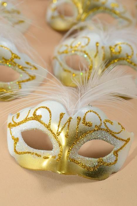 3 Quot X 1 5 Quot Mini Feather Mask White Gold Pkg 12
