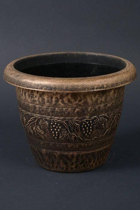 planter plastic pot bronze gold