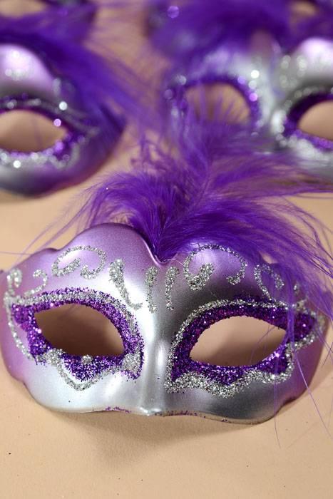 3 Quot X 1 5 Quot Mini Feather Mask Purple Silver Pkg 12 Gandgwebstore Com