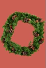 "24"" FIRESIDE WREATH W/PINE CONES GREEN/BROWN"