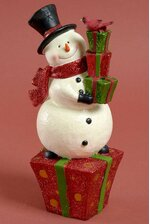 "11"" RESIN SNOWMAN ON GIFT BOX RED/GREEN/WHITE"