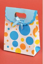 "4.75"" X 6.3"" X 2.35"" PAPER GIFT BAG W/BOW POLKA DOT BLUE PKG/12"