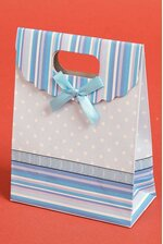 """4.75"""" X 6.3"""" X 2.35"""" PAPER GIFT BAG W/BOW BABY BLUE PKG/12"""