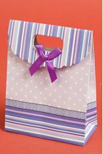 "4.75"" X 6.3"" X 2.35"" PAPER GIFT BAG W/BOW LAVENDER/PURPLE PKG/12"