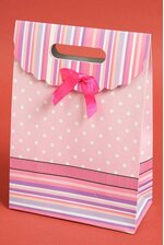 """7.5"""" X 10.5"""" X 3.5"""" PAPER GIFT BAG W/BOW PINK PKG/12"""