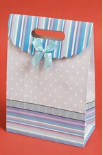 """7.5"""" X 10.5"""" X 3.5"""" PAPER GIFT BAG W/BOW BABY BLUE PKG/12"""