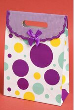 "7.5"" X 10.5"" X 3.5"" PAPER GIFT BAG W/BOW POLKA DOT PURPLE PKG/12"