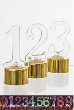 """3"""" PLASTIC NUMBER W/LED BX10 GOLD/CLEAR"""