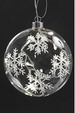 """6"""" OBLATE SNOWFLAKE ORNAMENT W/LIGHTS CLEAR"""