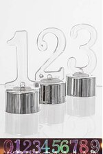 """3"""" PLASTIC NUMBER W/LED BX10 SILVER/CLEAR"""
