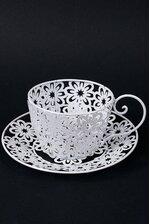 "9.5"" X 4"" METAL COFFEE CUP WHITE"
