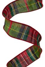 """1.5"""" X10YDS FAUX DUPION TRADITION TARTAN MOSS GREEN/RED"""