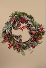 "24"" ICE BERRY WREATH RED"