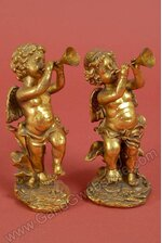 """8"""" RESIN CHERUB W/TRUMPET ANTIQUE GOLD SET/2"""