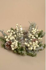 """12"""" ICED BERRY CANDLE HOLDER WHITE"""