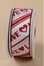 "1.5"" X 10YDS WIRED ENDLESS LOVE RIBBON RED/WHITE"