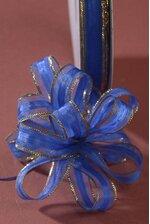 "3/8"" X 25YDS PULL BOW RIBBON W/GOLD TRIM ROYAL BLUE"