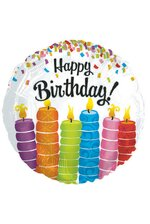 """18"""" ROUND FOIL BALLOON BIRTHDAY COLORFUL CANDLES PKG/10"""