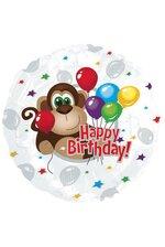 "18"" ROUND FOIL BALLOON MONKEY HAPPY BIRTHDAY PKG/10"