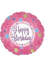 """18"""" ROUND FOIL BALLOON HAPPY BIRTHDAY PINK PKG/10"""