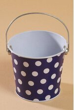 "3"" X 3.25"" METAL BUCKET W/DOTS ROYAL"