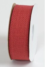 """1.5"""" X 10YDS WIRED BURLAP RIBBON RED"""