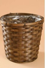 "9.5"" X 10"" STAINED BAMBOO PLANTER BROWN"