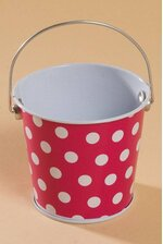 "3"" X 3.25"" METAL BUCKET W/DOTS FUCHSIA/WHITE"