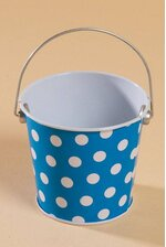 "3"" X 3.25"" METAL BUCKET W/DOTS BLUE/WHITE"