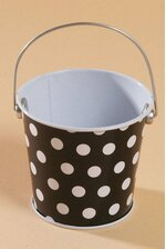 "3"" X 3.25"" METAL BUCKET W/DOTS BLACK/WHITE"