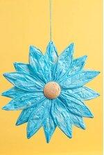 "17"" HANGING PAPER FLOWER BLUE"
