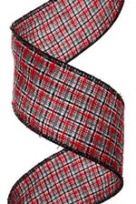 """2.5"""" X 10YDS KNITTED PLAID  RED/ GRAY"""