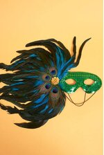 """18"""" SEQUIN MASK W/4 PEACOCK EYES & FEATHERS GREEN"""