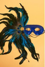 """18"""" SEQUIN MASK W/4 PEACOCK EYES & FEATHERS ROYAL BLUE"""