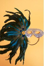 """18"""" SEQUIN MASK W/4 PEACOCK EYES & FEATHERS SILVER"""