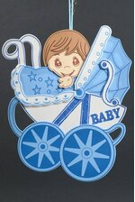 """13"""" X 15.5"""" BABY SHOWER CARRIAGE FOAM SIGN BLUE"""