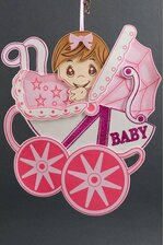 """13"""" X 15.5"""" BABY SHOWER CARRIAGE FOAM SIGN PINK"""