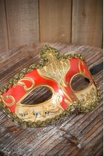 """4"""" X 6.5"""" HALF MASK W/COPPER PAINTING RED"""