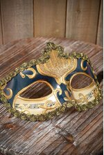 """4"""" X 6.5"""" HALF MASK W/COPPER PAINTING BLUE"""